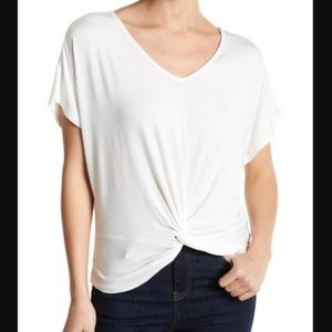 GOOD LUCK GEM Ivory Knot Front Knit Tee